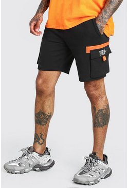 Black Contrast Cargo Short With MAN Print