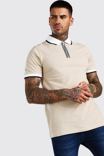 Taupe beige Short Sleeved Pique Zip Polo With Tipping