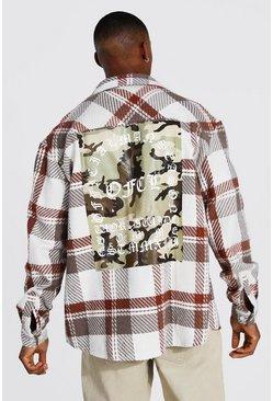 Taupe beige Oversized Check Shirt With Camo Back Print