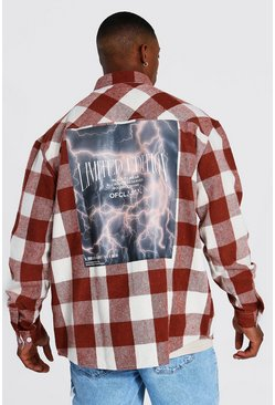 Red Oversized Lightning Back Print Check Shirt