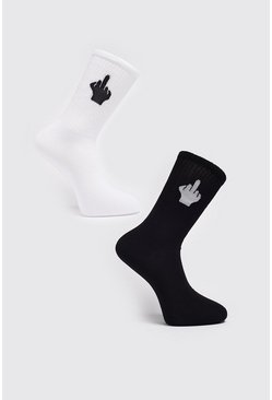 Multi 2 Pack Middle Finger Sock