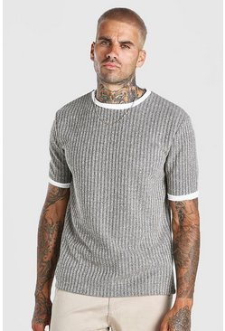 Stone beige Ribbed Knitted Faux Layer T-Shirt
