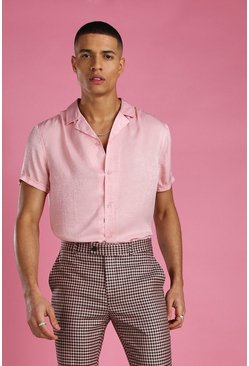 Pink Short Sleeve Revere Collar Satin Party Shirt