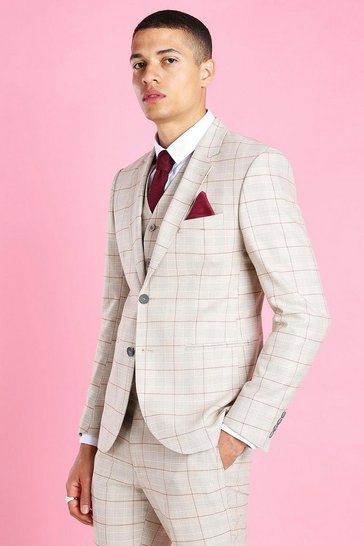 Taupe beige Skinny Check Suit Jacket