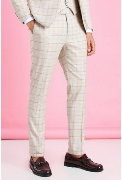 Taupe beige Skinny Check Suit Trouser