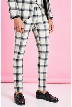 Ecru vit Super Skinny Windowpane Check Suit Trouser