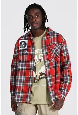 Oversized Check Shirt With Varsity Badges, Red Красный