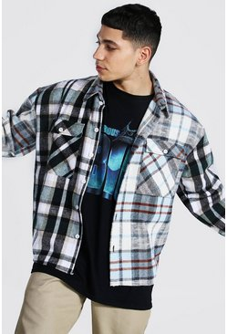 Light blue blue Boxy Fit Spliced Check Shirt