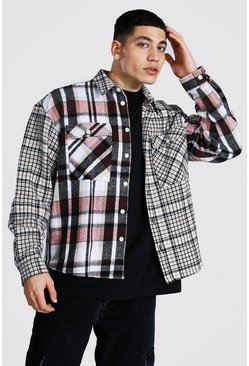 Taupe beige Boxy Fit Spliced Check Shirt