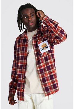 Oversized Check Shirt With Varsity Badge, Purple viola