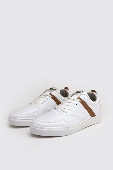 White Tumbled Pu Lace Up Trainer