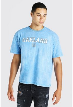 Blue Oversized Oakland Acid Wash Varsity T-Shirt