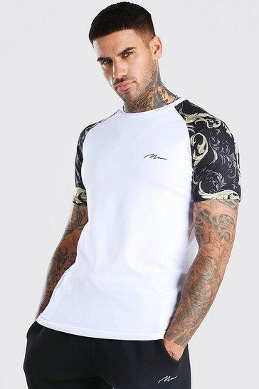 White Muscle Fit MAN Signature Baroque Raglan T-Shirt