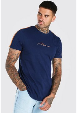 Navy MAN Signature Curved Hem T-Shirt With Sleeve Tape