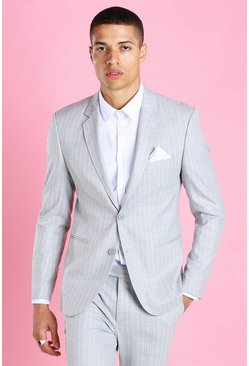 Light grey grå Skinny Pinstripe Suit Jacket