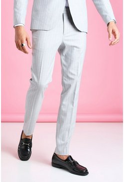 Light grey grå Skinny Pinstripe Suit Trouser