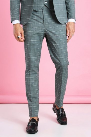 Green Skinny Windowpane Check Suit Trouser