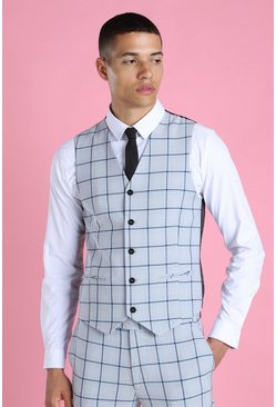 Light blue blue Super Skinny Windowpane Check Suit Waistcoat
