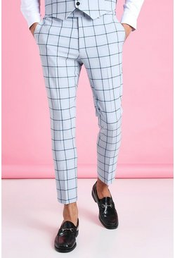Light blue Super Skinny Windowpane Cropped Suit Trouser