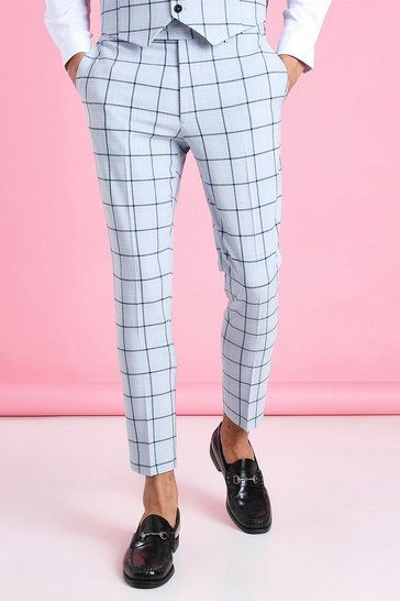 Light blue blue Super Skinny Windowpane Cropped Suit Trouser