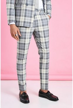 Ecru vit Skinny Check Suit Trouser