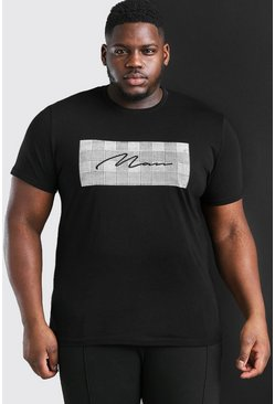 Camiseta de corte cuadrado con estampado de la firma MAN Big and Tall, Negro