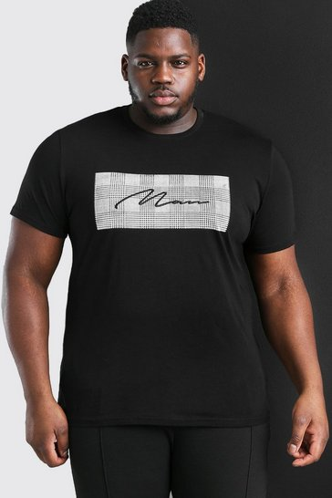 Black Plus Size MAN Signature Jacquard Box T-Shirt