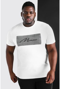 White Plus Size MAN Signature Jacquard Box T-Shirt