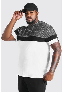 Camiseta con panel de jacquard MAN Big And Tall, Blanco
