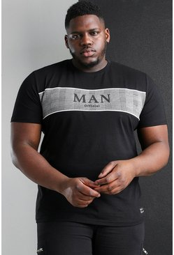 Black svart Plus Size MAN Roman Jacquard Panel T-Shirt