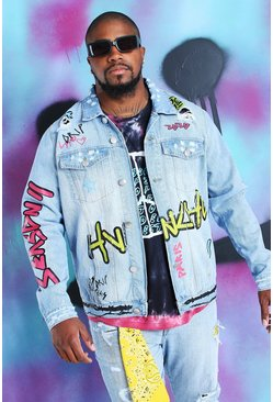 Blue Plus Size Quavo Denim Jacket With Graffiti