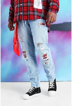 Blue Plus Size Quavo Skinny Rigid Jean With Bandana