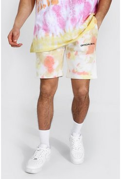 Yellow Regular Man Official Tie Dye Jersey Shorts