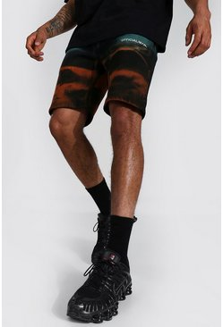 Black svart MAN Official Batikmönstrade jerseyshorts i regular fit