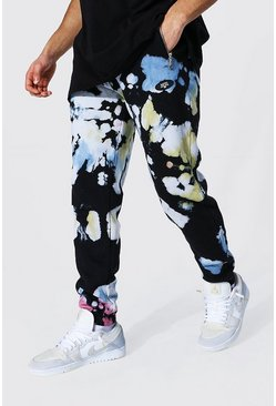 Regular Official Man Tie Dye Zip Joggers, Black nero