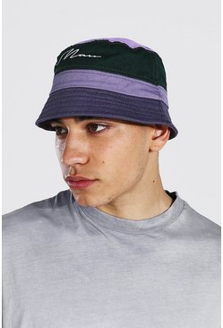 Multi Colour Block Man Branded Bucket Hat