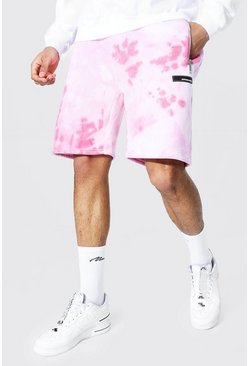 Pink Regular Official Man Tie Dye Zip Shorts