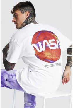 Oversized Nasa Back Print License T-shirt, White bianco