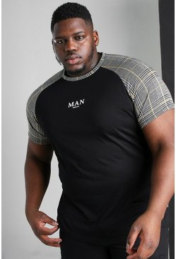Black Big And Tall MAN Roman Jacquard Raglan T-Shirt