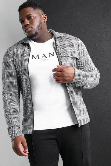Black Plus Size Jacquard Utility Coach Overshirt