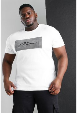 White Plus Size MAN Roman Jacquard Box T-Shirt