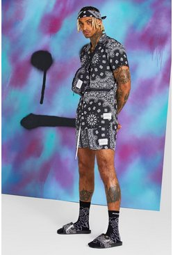 Black Quavo Bandana Print Shirt And Short Set