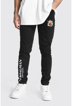 Washed black Skinny Rigid Man Floral Print Jean