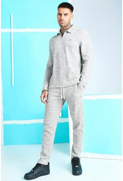 Grey L/S Zip Jacquard Polo And Pintuck Jogger With Tab