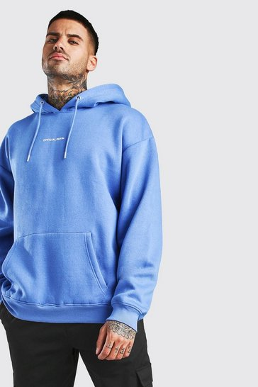 Blue Oversized Official MAN Front & Back Print Hoodie