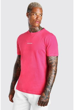 Coral pink Official MAN Front & Back Print T-Shirt