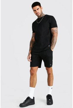 Black Scuba T-Shirt And Pintuck Short With MAN Embroidery
