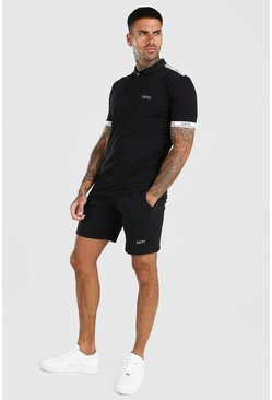 Original MAN Tape Polo & Short Set, Black nero