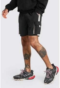 Black Shell 3D Cargo Pocket Short With Panels