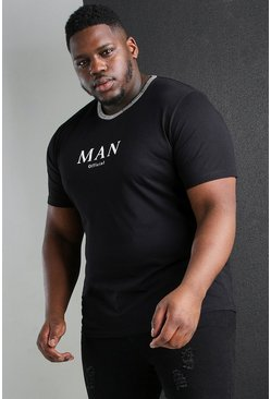 Black svart Plus Size MAN Roman Jacquard Neck T-Shirt